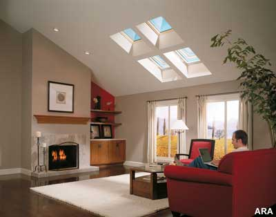 Venting skylights exhaust stale air from the home and admit healthful natural light while matched flashing systems prevent leaks.