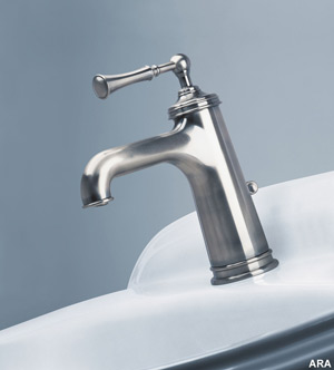 German-engineered JADO bathroom faucets are available in an antique nickel finish, which is among the most popular for luxury fixtures and matches any décor.