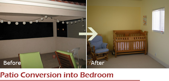 Patio conversion into bedroom in Topanga Los Angeles