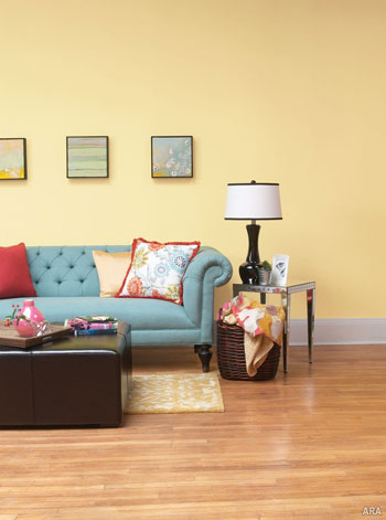 A warm buttery yellow combined with a sophisticated sky blue captures the essence of a fresh, sunny day.