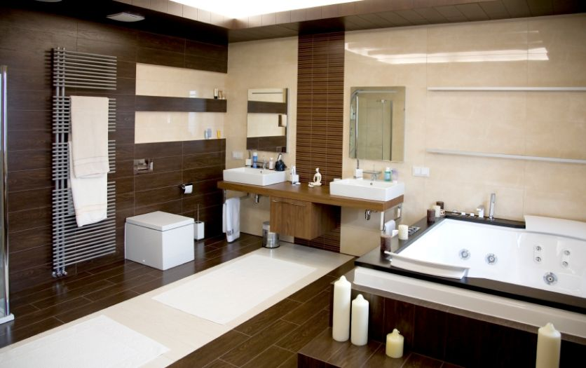 Charmant Luxurious Modern White Bathroom With Dark Wood Floors