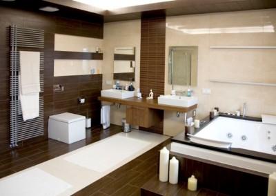 luxurious modern white bathroom with dark wood floors